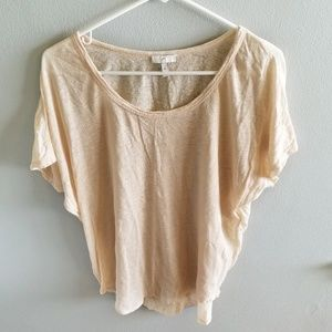 Joie XS Light Peach Scoop Neck Short Sleeve Top